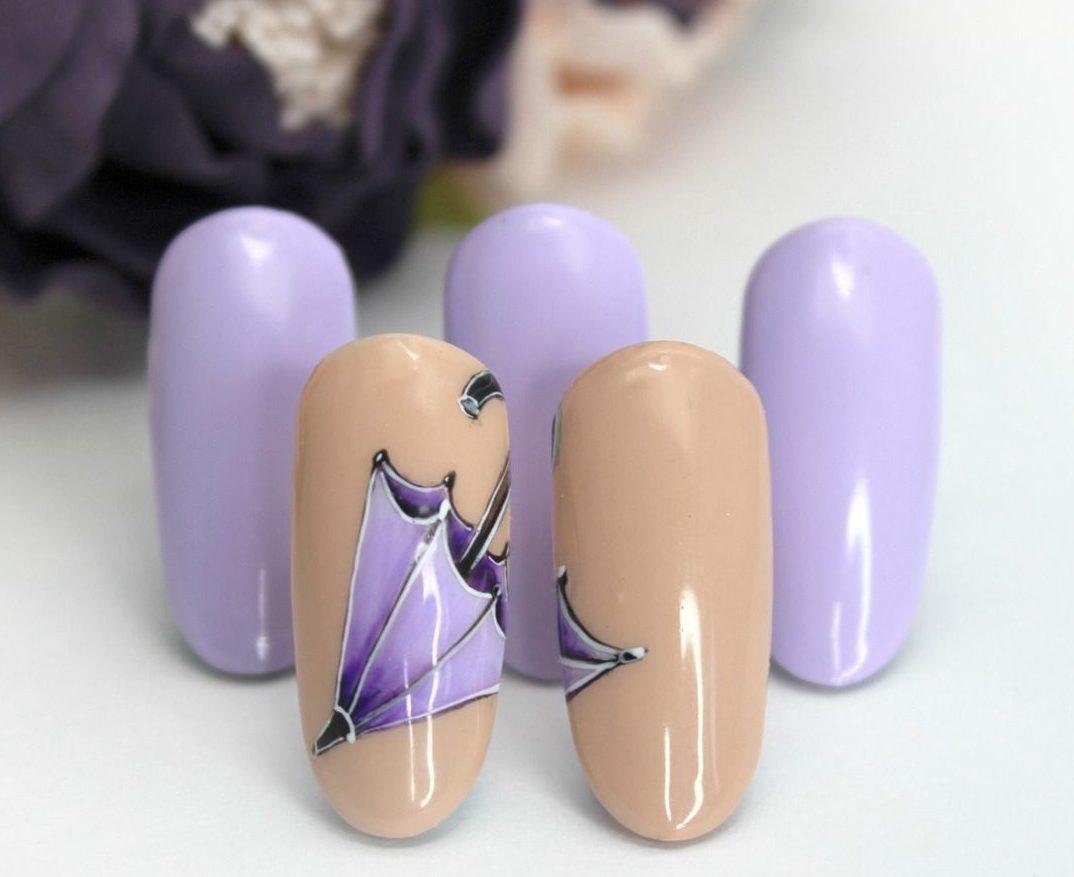 Картинка на ногтях девушка с зонтом