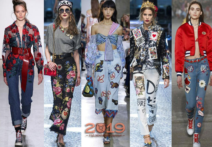 Джинсы с вышивкой мода сезона осень-зима 2018-2019 года